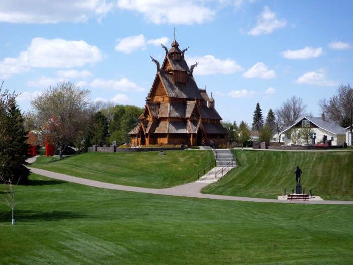 7. Gol Stave Church replica in Scandinavian Heritage Park, located in Minot, North Dakota.