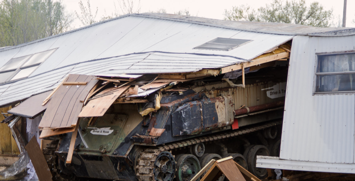 7. Drive A Tank in Kasota lets you and your family drive a tank for some destructive fun. You even have the option to drive over cars and through mobile homes!