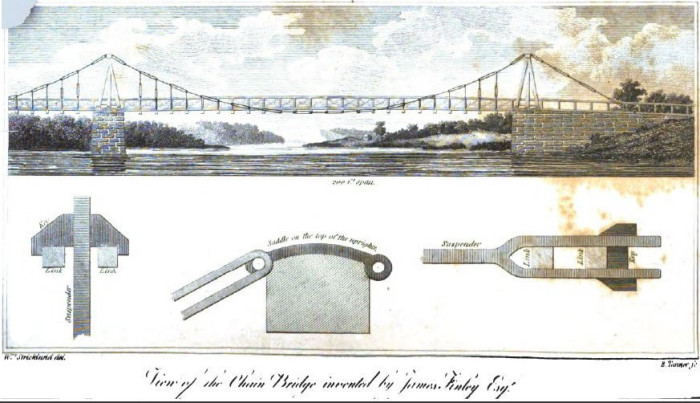 9. The country's first suspension bridge was built near Uniontown.