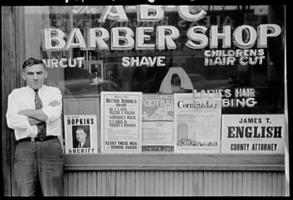 A Barber in Front of His Shop, Omaha, 1938
