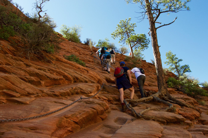 3) There's often a sense of community while hiking the Landing -- most people are friendly, patient and willing to help others out.