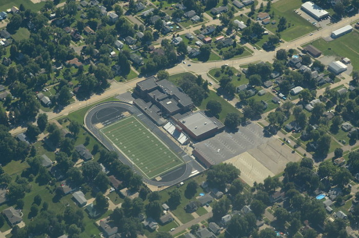 Falls City High School as Seen From the Sky