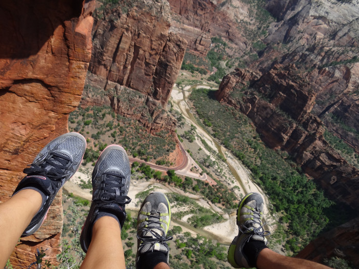 3) You're wearing flip flops. Seriously? If I have to tell you why this is a bad idea, you shouldn't be hiking any trail. Angel's Landing requires hiking boots or shoes, with double-knotted laces. Tripping while on a narrow sandstone ridge with a 1,200 foot drop on one side and an 800 foot drop on the other could be disastrous.