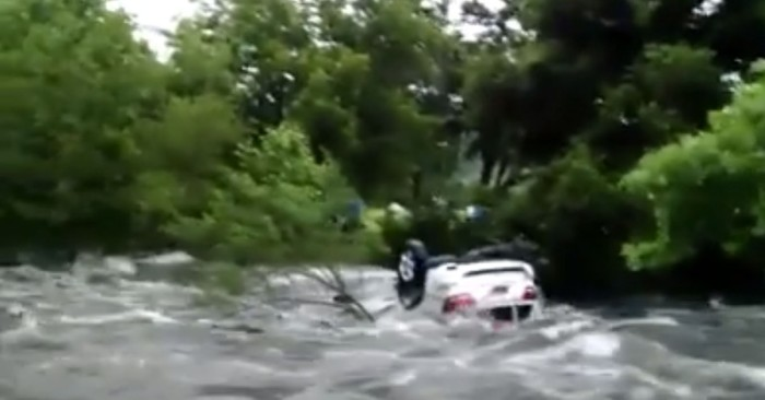 9) When a terrifying video went viral of a man who was trapped inside his Jeep as floodwaters swept him down a creek in Boerne.