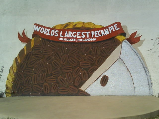 7. Okmulgee used to hold a Pecan festival every year until 2009 and would serve up the world's largest pecan pie.  The pie weighed 35,000 lbs. and was over 40 feet in diameter.