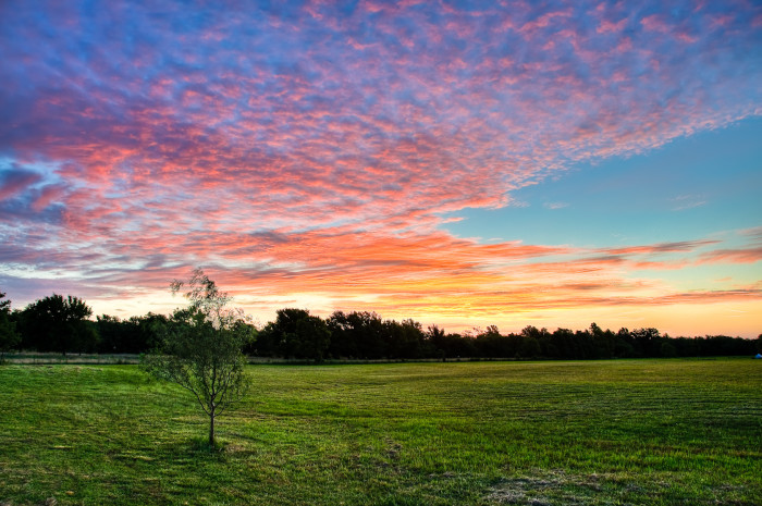 6. This colorful morning sky in Porter, OK is gorgeous above the grasslands.