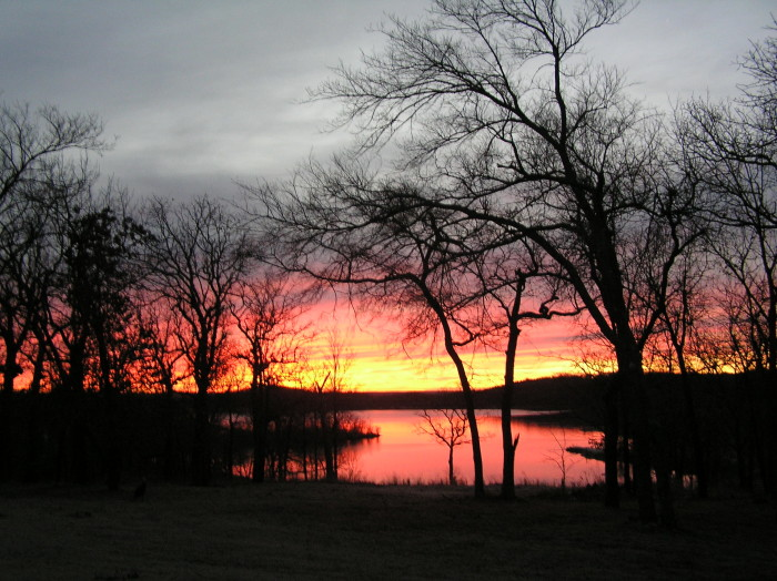 8. A winter sunrise awaits right off the lake.