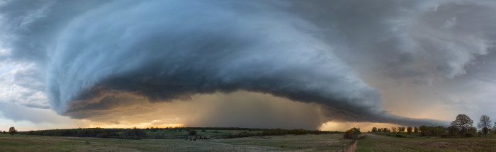 "3. This ""Panoramic Supercell"" was captured beautifully by Kelly DeLay."