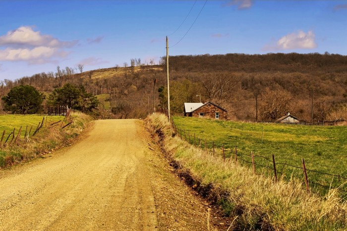 7. This country dirt road sits in the middle of this farm in Adair County.