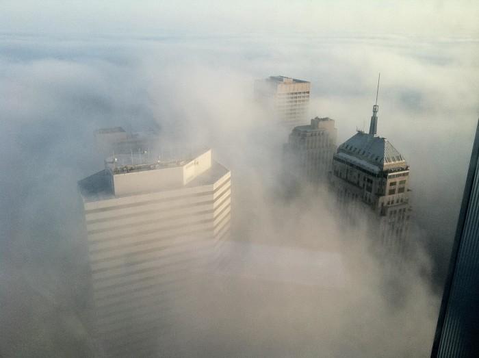 1. Downtown Oklahoma City peeking through the fog.