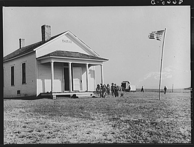 Children Going Into Their One-Room Schoolhouse in Seward County, 1938