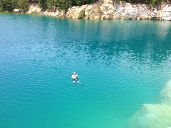 7) Getting ridiculously excited about swimming at the Blue Hole in Zavalla, where the water was as blue as the sky above.