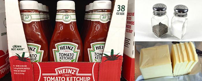 3. The Minnesota spice kit. Salt, pepper & ketchup.