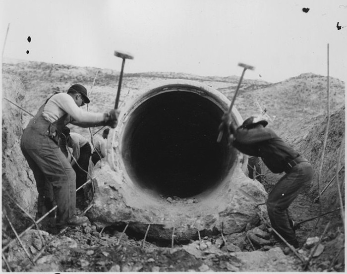 Workers Breaking Concrete on the North Platte Project, Bayard, 1940