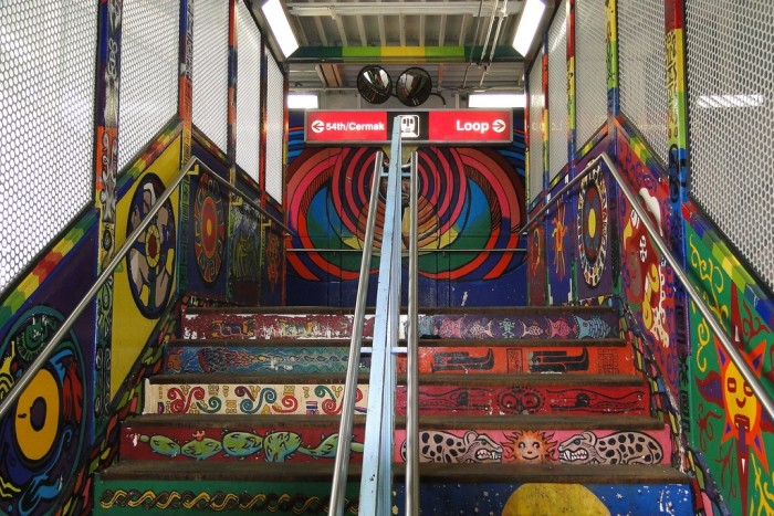 If this isn't the coolest staircase to the subway platform, I don't know what is