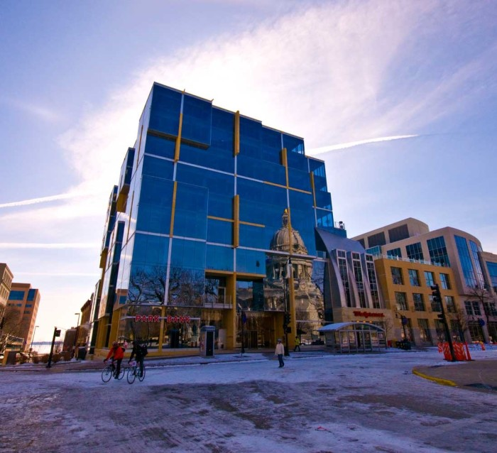 2. This mirrored building in downtown Madison