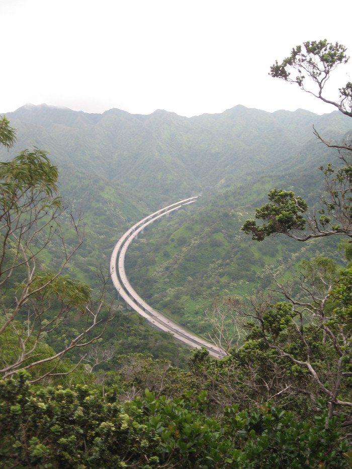 1) One of the three major highways on Oahu, much of H-3 is suspended between the Ko'olau Mountain Range and the valley below.