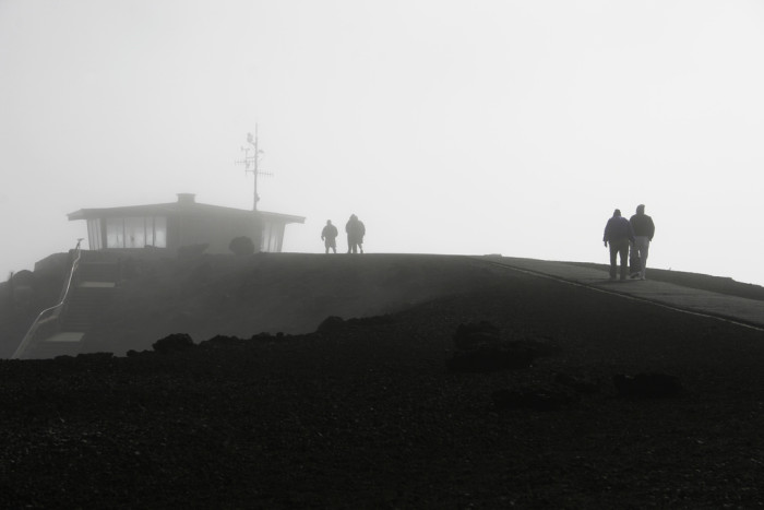 1) This shot was taken on the summit of Maui's Haleakala in color, and has not been altered.