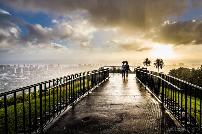 13) What is more romantic than a walk across a bridge, in the rain, at sunset?