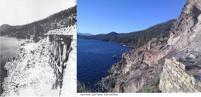 9. Cave Rock at Lake Tahoe - Circa 1900 and 1950-60