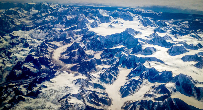 1) Flying over the Alaskan mountains