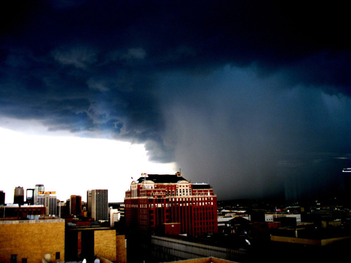 2. Is this thundershower over Birmingham planning to take out that center building? It sure looks that way!
