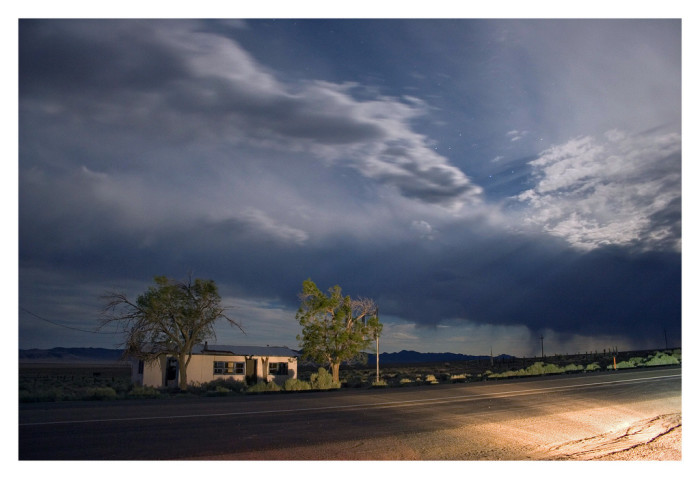 9. This midnight desert thunderstorm is happening at the former site of Warm Springs, which is now a ghost town.