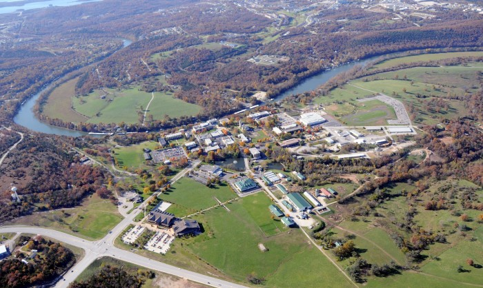 2.College of the Ozarks with Lake Taneycomo, Branson, and Table Rock Lake beyond
