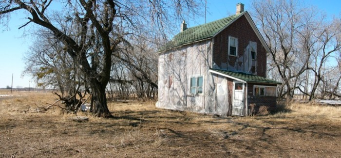 4) This lonely house sits among the dying trees somewhere in Texas.
