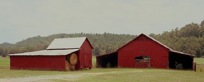 11. What's better than one red barn? TWO RED BARNS!!! These red barns are located in  Jacksonville, Alabama.