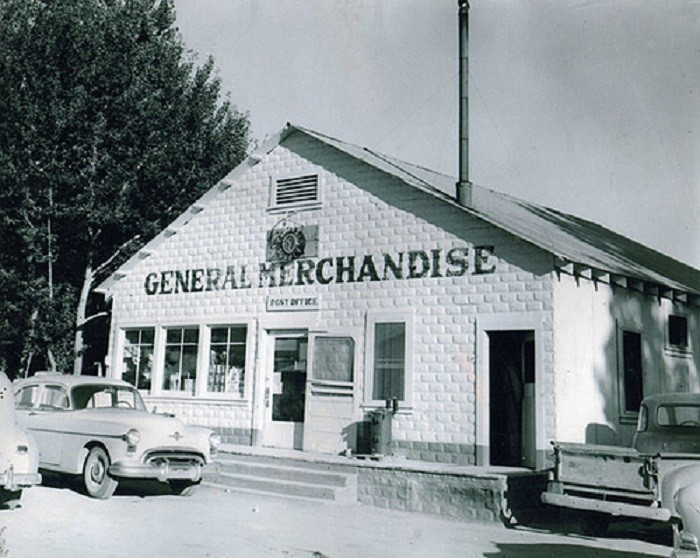 5. This photo of C & S General Merchandise, located on Main Street in Gerlach, Nevada, was taken during the late 1950s. The post office was also located inside this general store.