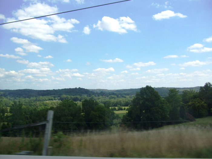 8. Beautiful hills in the background of someone taking a road trip across Indiana. The colors in this picture are great.