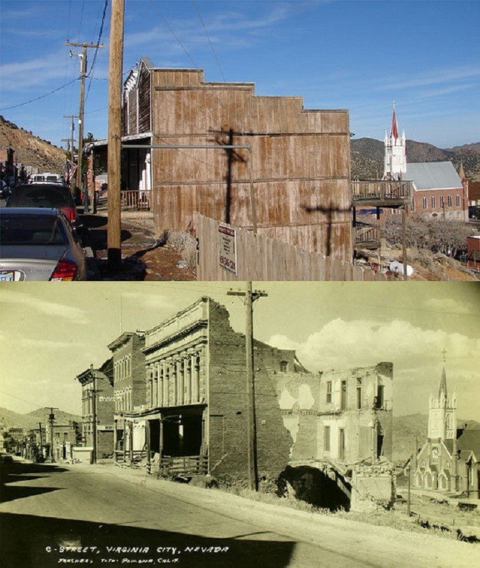 7. C Street in Virginia City - 1940s and Today