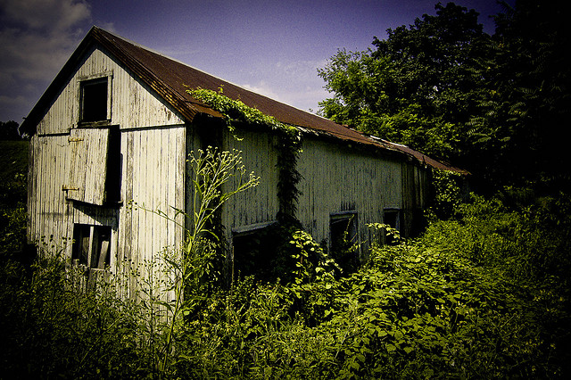 4. This old barn in Oreland could easily pass as a Halloween attraction.