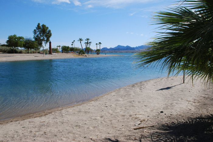 7. This beach at Lake Havasu has a more traditional look with sand and palm trees.