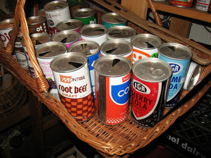 7. These vintage soda cans were found in Hammond, Indiana. Did you ever drink from cans that looked like that?
