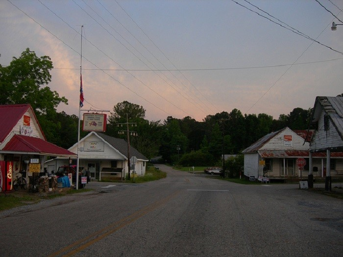 9. This photo was taken in the downtown area of Weogufka, Alabama. As you can see, the downtown area has a variety of general stores.