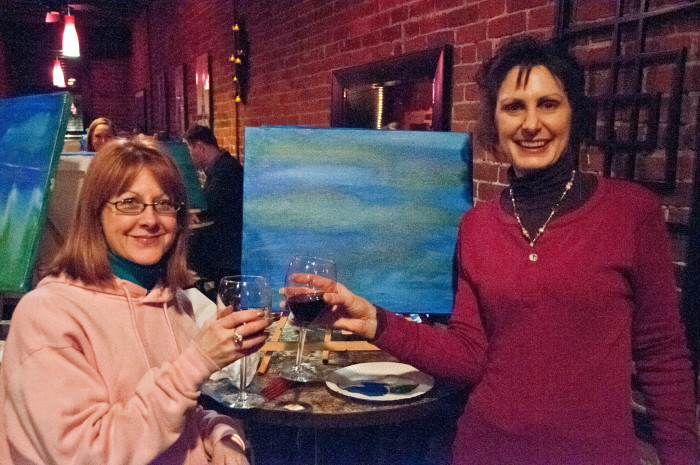 4. Sip wine and paint with your friends