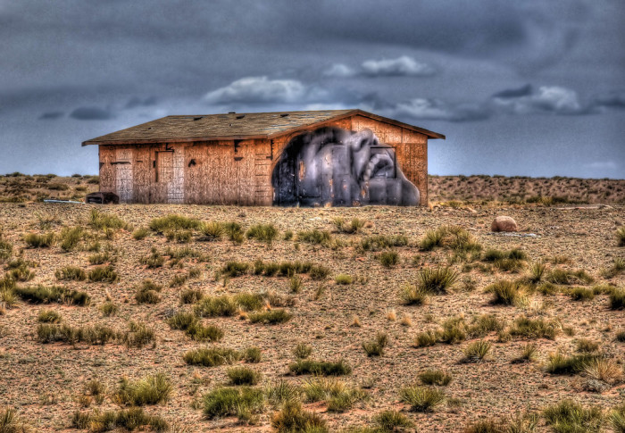 6. This wheat paste was found north of Tuba City along Highway 160.