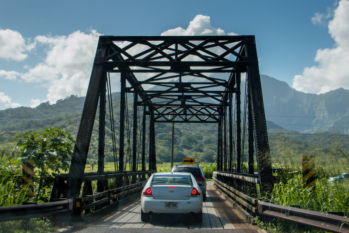 6) The Kuhio Highway Bridge on the way from Princeville to Hanalei on Kauai is one-lane with a stunning backdrop.