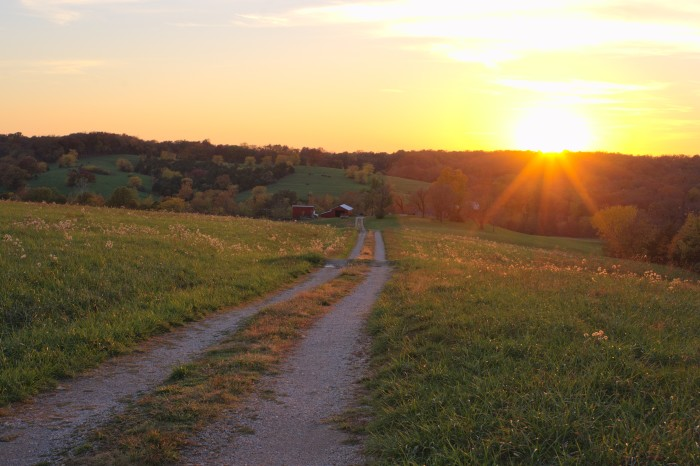 6. Gorgeous sunset on this farm near Jefferson city.  Based on the path/road, this farm might find itself a little secluded during bad weather.
