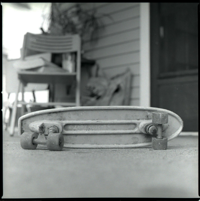 1. This picture was taken in 2007. The photographer claims it is his very first skateboard (he rescued it from his parent's barn before it collapsed.) It being in black and white only adds to its beauty.
