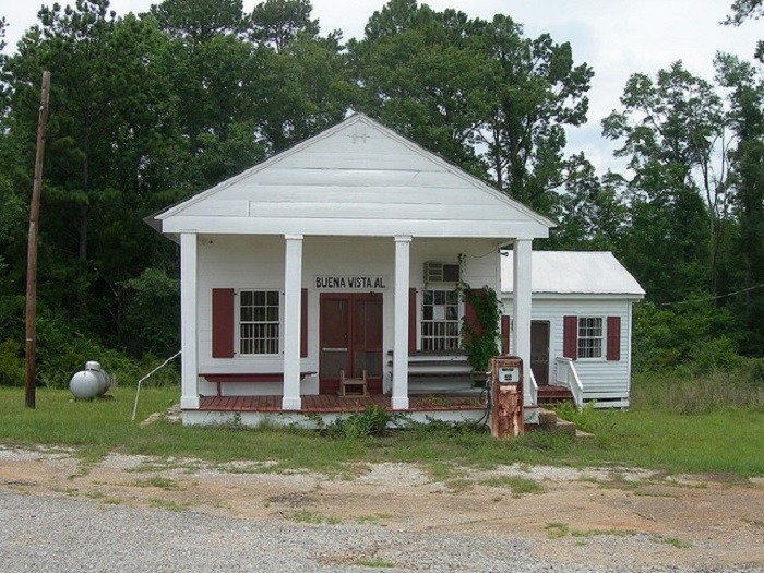 6. Buena Vista General Store, located in Monroe County, Alabama, housed the post office in the back corner of the store. The post office eventually closed on December 31, 1975.