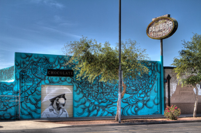 9. If you're driving along Grand Avenue in Phoenix, keep an eye out for this striking blue artwork.
