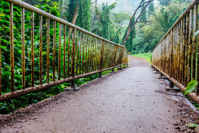 7) On the way to Manoa Falls on Oahu is this rusted pedestrian bridge.