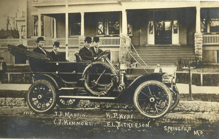 7. Four men in an old automobile - T.D. Martin, C.J. Hammons, H.P. Hyde and E.L. Dickerson, Springfield, 1908