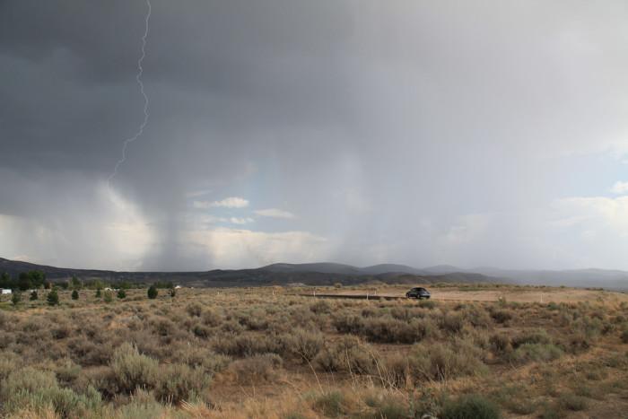 4. A close lightning strike as it occurs in Elko.