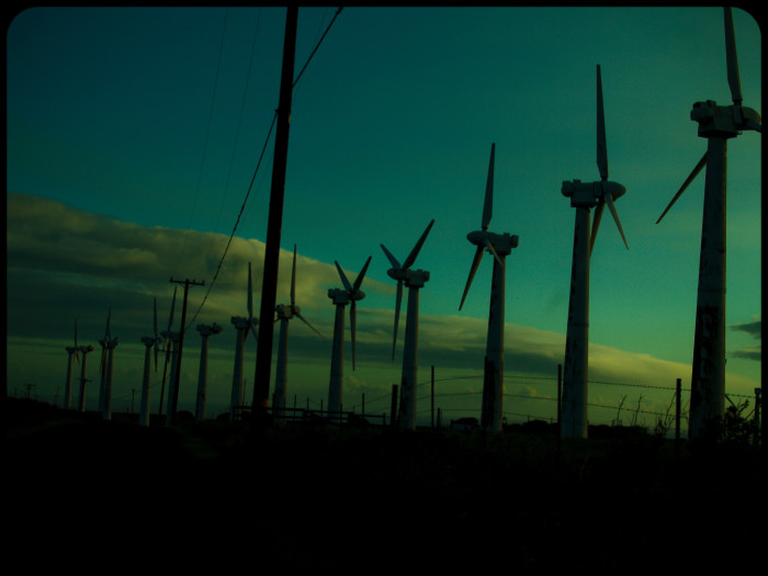 8) I'm not sure which is more spooky – the abandoned wind farm or the colors of the night sky?