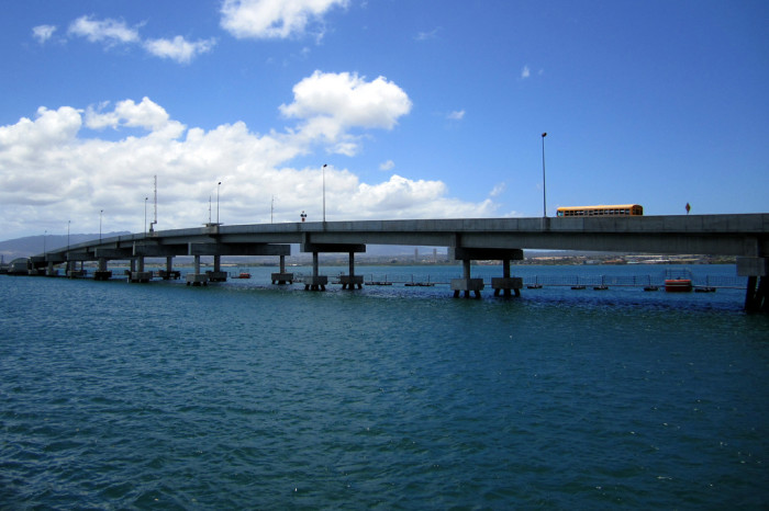 8) The Ford Island Bridge is 4,700 feet long, and carries military traffic from Pearl Harbor to Ford Island.