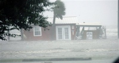 8. As the water made its way over the highway, this tiny Gulfport bait shop really experienced the wrath of Hurricane Gustav.